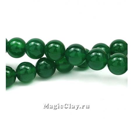 Бусины Агат зеленый, гладкий 10 мм, 1 нить (~38шт)