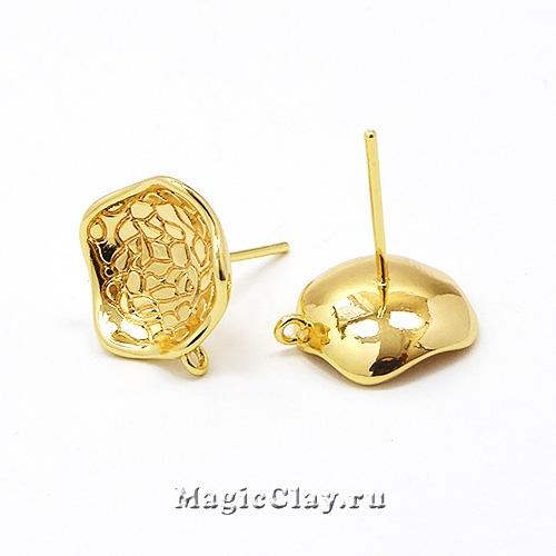 Швензы гвоздики Волны 13х11мм, Real Gold, 1пара