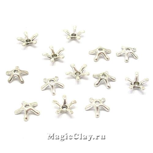 Шапочка для бусины  Лучинки 8мм, цвет серебро, 10шт