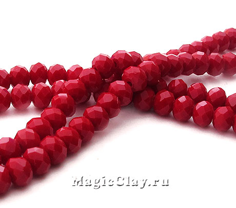 Бусины рондели Красный Бархат 4х3мм, 1нить (~130шт)