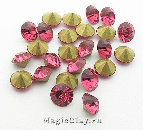 Стразы конусные для бижутерии SS28, цвет Розовый
