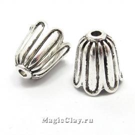 Шапочка для бусины  Крокус10х10мм, цвет серебро, 1шт