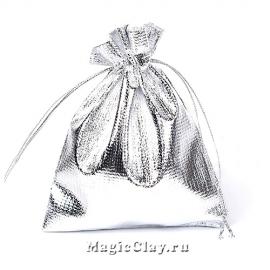 Сумочка подарочная 12х9см, цвет серебро
