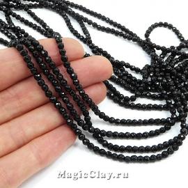 Бусины Агат черный граненый 3мм, 1нить (~125шт)