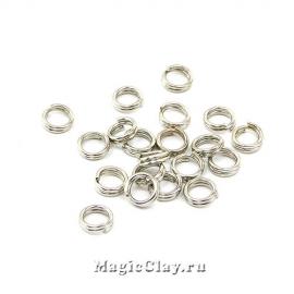 Колечки двойные, цвет платина 5мм, латунь 15гр (~160шт)