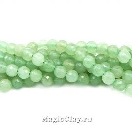 Авантюрин натурал. Зеленый граненый 6мм, 1нить (~60шт)