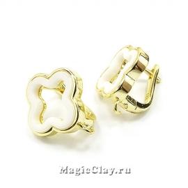 Швензы Клевер Керамика 15мм, цвет золото, 1пара