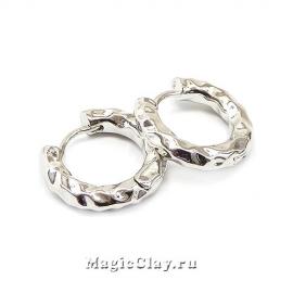 Швензы Кольцо Мятый 18х3мм, родий/платина, 1пара