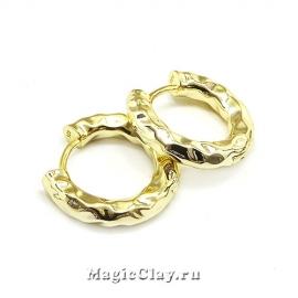 Швензы Кольцо Мятый 18х3мм, цвет золото, 1пара