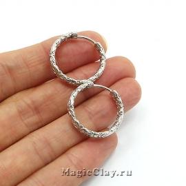 Швензы Кольцо Рифление 22х4мм, родий/платина, 1пара