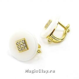 Швензы Керамика Круглые Белые Ромб 14мм, цвет золото, 1пара