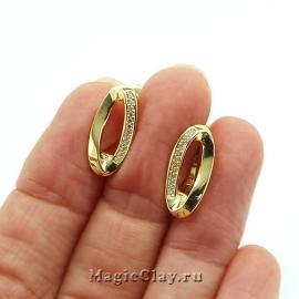 Швензы Овал Волна 17х8мм, цвет золото, 1пара
