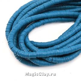 Бусины Каучуковые 4мм, Синий стальной, 1нить (~330-400шт)
