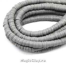 Бусины Каучуковые 6мм, Серый, 1нить (~330-400шт)