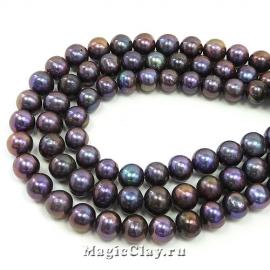 Жемчуг Натуральный, цвет Черный 7-9х8-9мм, 1 нить (~50шт)