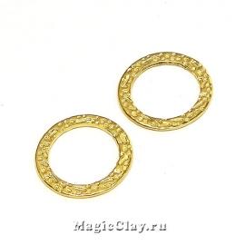 Коннектор Кольцо Текстура 15мм, сталь золото, 1шт