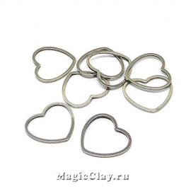 Коннектор Сердце 14х15мм, сталь, 10шт