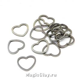 Коннектор Сердце 10х11мм, сталь, 10шт
