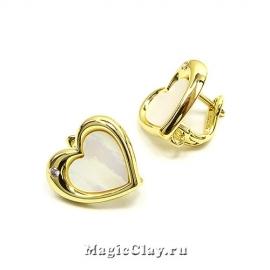 Швензы Сердце Перламутр 15мм, цвет золото, 1пара