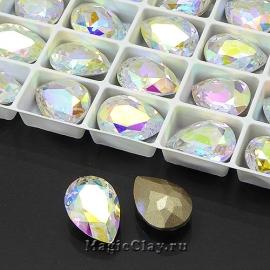 Стразы Люкс Капля 14х10мм, цвет Crystal Aurore Boreale, 1шт