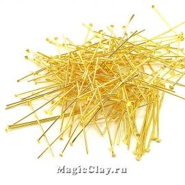Пины гвоздики, цвет золото 50х0,7мм, латунь, 40гр (~225шт)
