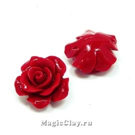 Бусины Коралл синтет. Роза 14х8мм, цвет красный, 6шт