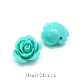 Бусины Коралл синтет. Роза 14х9мм, цвет голубой, 6шт
