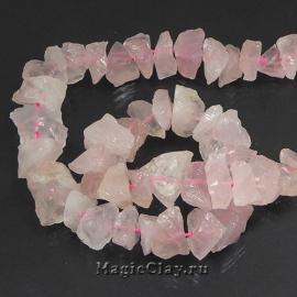 Бусины Кварц розовый, камень 12-6х6-15мм, 1 нить (17шт)
