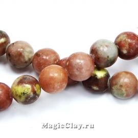 Бусины Яшма вишневый цвет 10мм, 1нить (~35шт)
