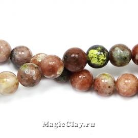 Бусины Яшма вишневый цвет 8мм, 1нить (~45шт)
