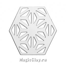 Филигрань Гексагон 27х23мм, сталь, 1шт