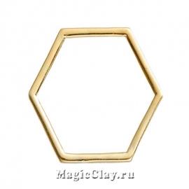Коннектор Фигура 17х15мм, цвет золото, 10шт