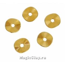 Рондели Пластинка 9мм, цвет золото, 10шт
