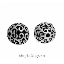 Бусина металлическая Завитки Ажур 10мм, цвет серебро, 1шт