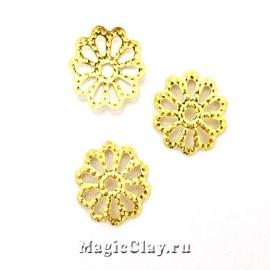 Шапочка для бусины Ажурная 9мм, цвет золото, 1уп(~60шт)