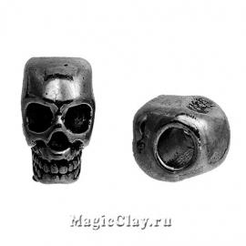 Бусина металлическая Череп 12х8мм, цвет черная сталь, 1шт