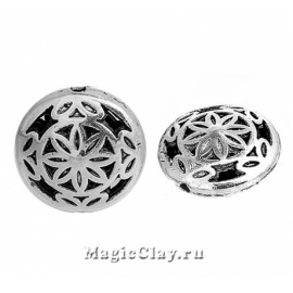 Бусина металлическая Цветочный Мотив 16мм, цвет серебро, 1шт