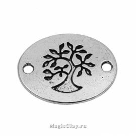 Коннектор Дерево Овал 22х17мм, цвет серебро, 1шт