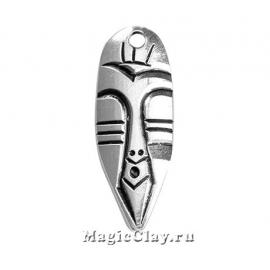 Подвеска Маска Тотем 40х15мм, цвет серебро, 1шт