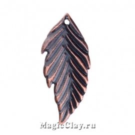 Филигрань Листок Лесной 33х16мм, цвет медь, 10шт
