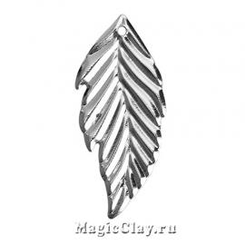 Филигрань Листок Лесной 33х16мм, цвет серебро, 10шт