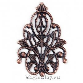 Филигрань Лесная Царица 35х26мм, цвет медь, 5шт