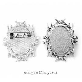 Основа для броши Герцогство 39х32мм, цвет серебро, 1шт