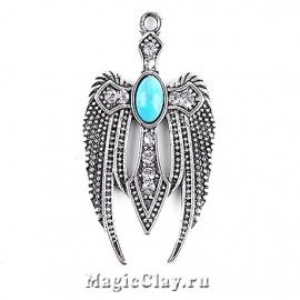 Подвеска Небесный Ангел 32х19мм, цвет серебро, 1шт