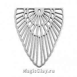 Подвеска Павлиний Хвост 42х40мм, цвет серебро, 1шт