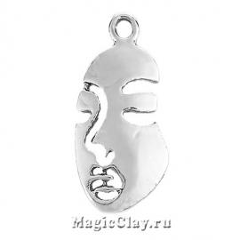 Подвеска Лицо 26х14мм, цвет серебро, 1шт