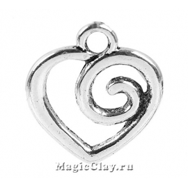 Подвеска Сердце Завиток 18х17мм, цвет серебро, 1шт