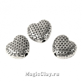 Бусина Мон Амур 9х8мм, цвет серебро, 5шт