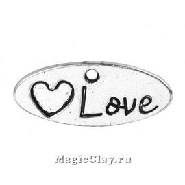 "Подвеска Овал ""Love"" 23х10мм, цвет серебро, 1шт"