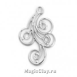 Филигрань Завиток 31х22мм, цвет серебро, 5шт